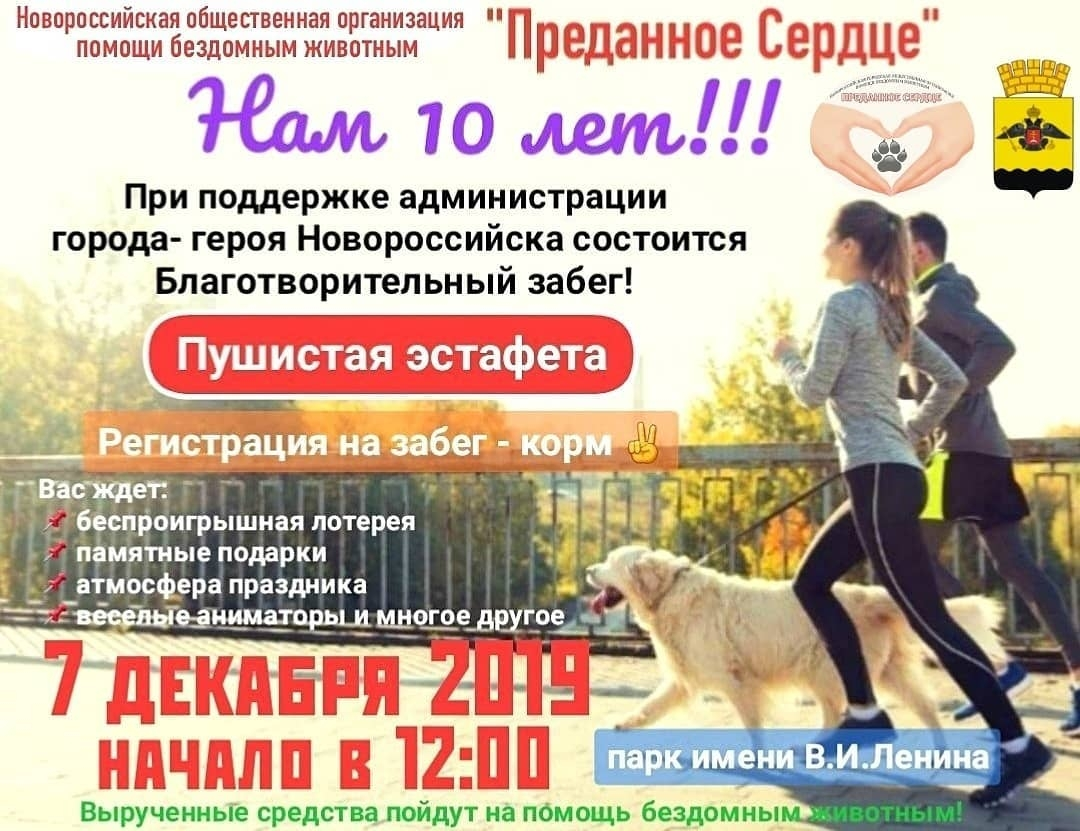 В Новороссийске пройдет забег с животными
