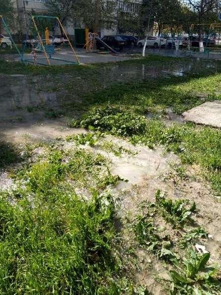 В Новороссийске во дворе по ул. Волгоградской  прорвало трубу
