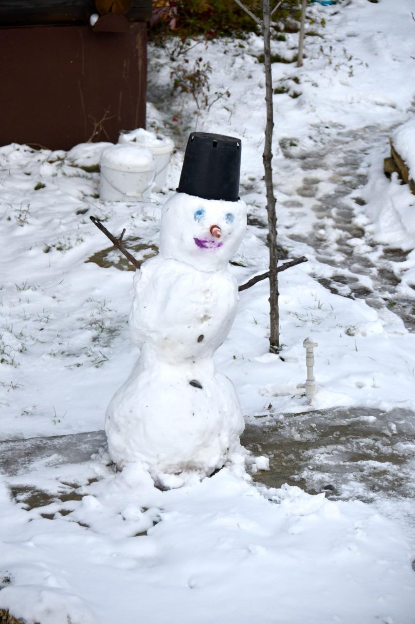 Пока машины буксовали по скользким дорогам Новороссийска, дети лепили снеговиков