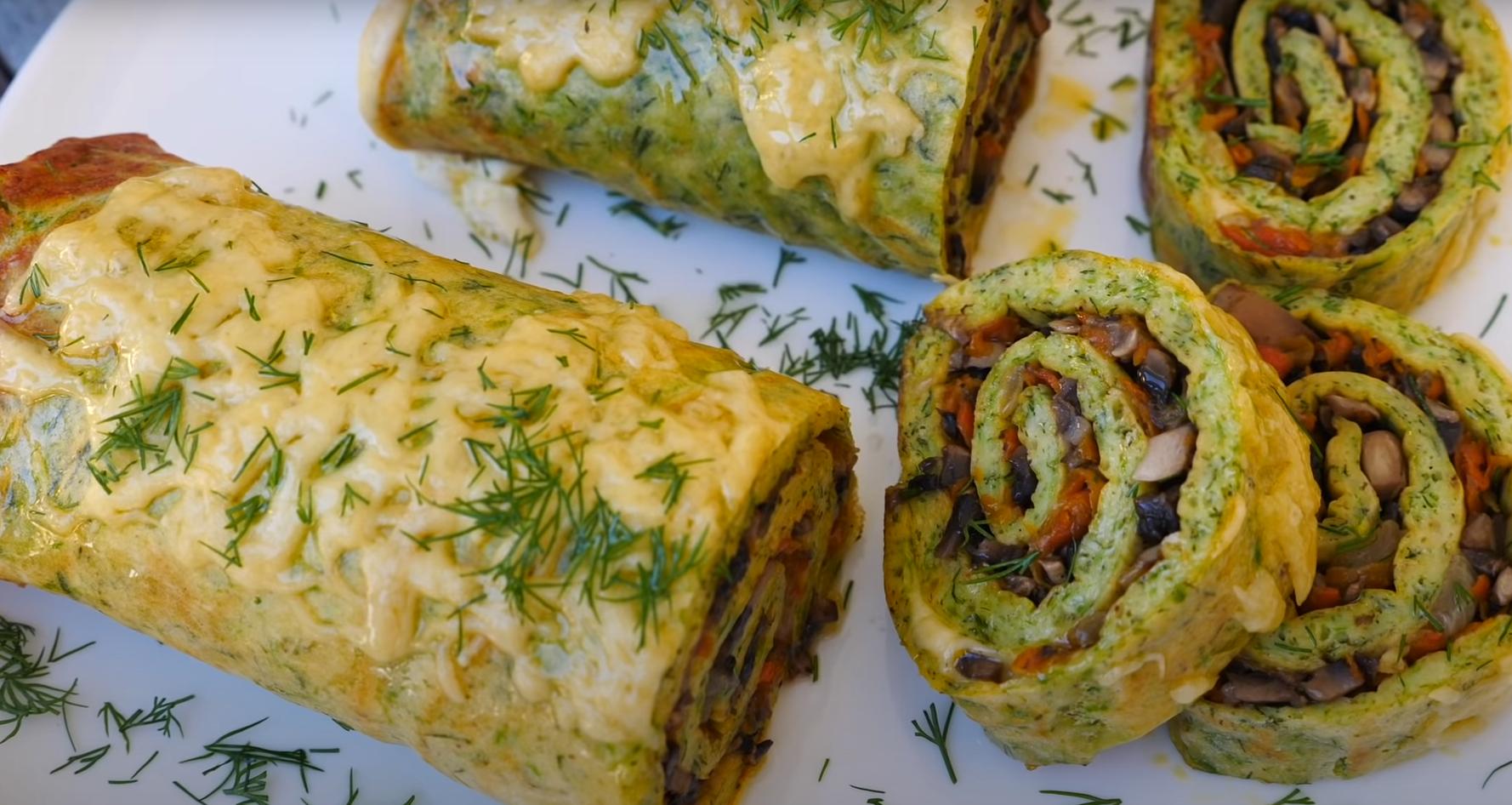 Рулет из кабачков с грибами и сыром в духовке